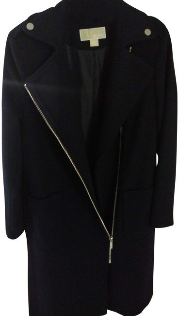 Item - Dark Navy Blue Zipper Asymmetrical Wool Coat Size 2 (XS)