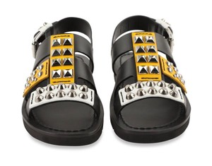 Prada Studded Flat Studded Black / White/ Yellow Sandals