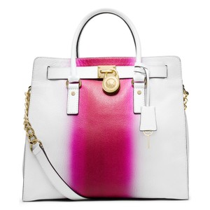 Michael Kors Soft Satchel North South Large Convertible Tote in Fuchsia Hot Pink White