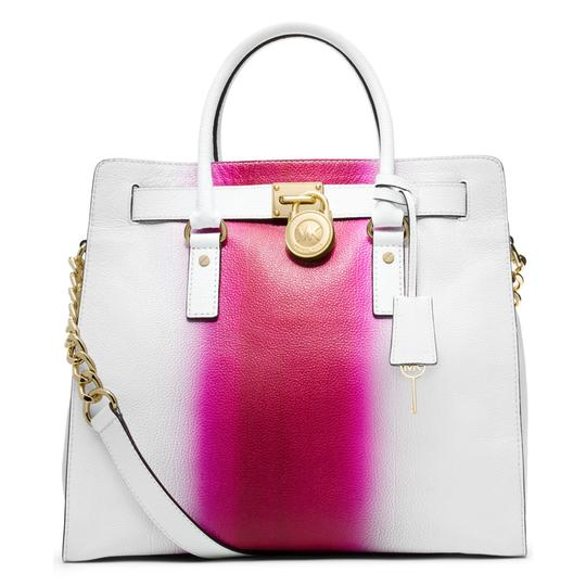 Preload https://img-static.tradesy.com/item/25726355/michael-kors-hamilton-north-south-large-spray-paint-satchel-fuchsia-hot-pink-white-leather-tote-0-0-540-540.jpg