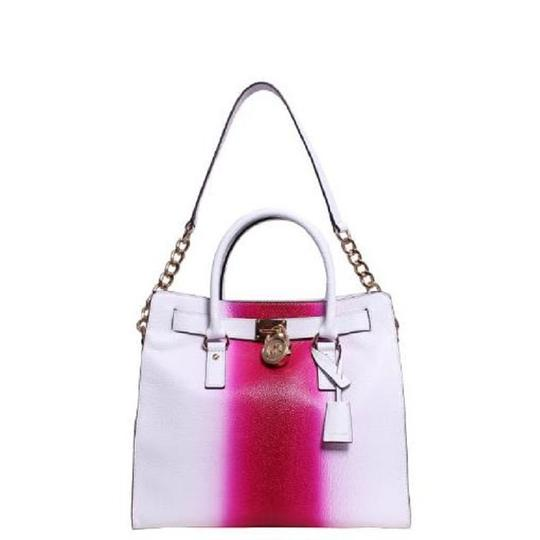 Michael Kors Soft Satchel North South Large Convertible Tote in Fuchsia Hot Pink White Image 1