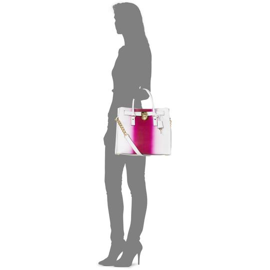 Michael Kors Soft Satchel North South Large Convertible Tote in Fuchsia Hot Pink White Image 2