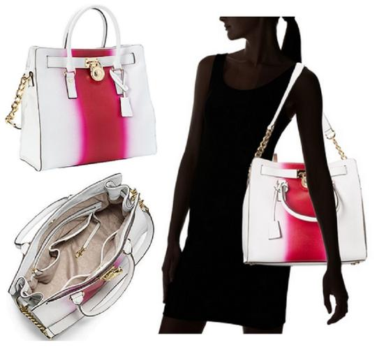 Michael Kors Soft Satchel North South Large Convertible Tote in Fuchsia Hot Pink White Image 3