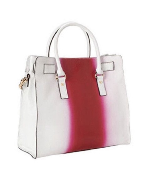 Michael Kors Soft Satchel North South Large Convertible Tote in Fuchsia Hot Pink White Image 6