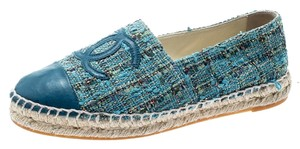 Chanel Leather Rubber Tweed Blue Flats