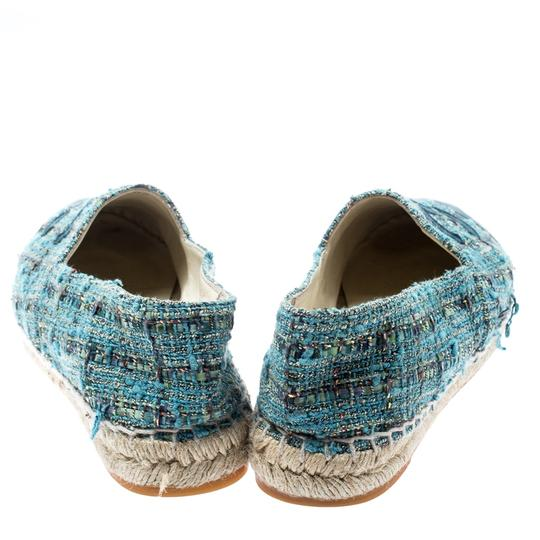 Chanel Leather Rubber Tweed Blue Flats Image 2