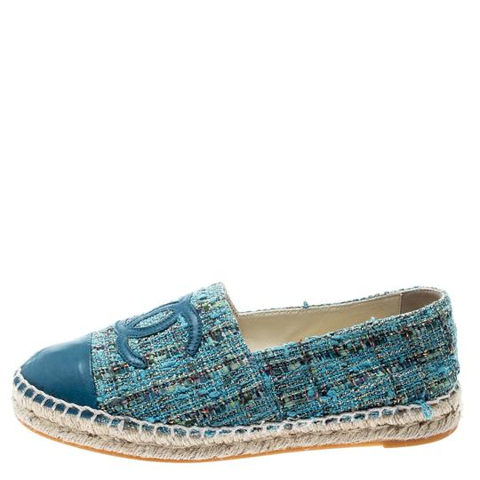 Chanel Leather Rubber Tweed Blue Flats Image 3