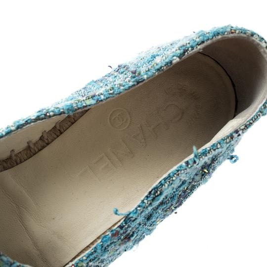 Chanel Leather Rubber Tweed Blue Flats Image 4