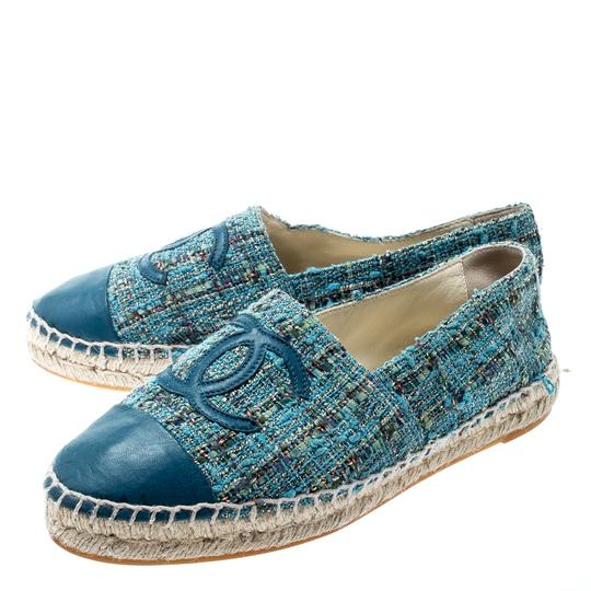 Chanel Leather Rubber Tweed Blue Flats Image 5