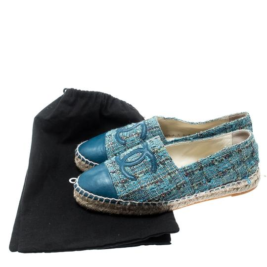 Chanel Leather Rubber Tweed Blue Flats Image 7
