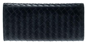 Bottega Veneta Blue Intrecciato Leather Long Wallet