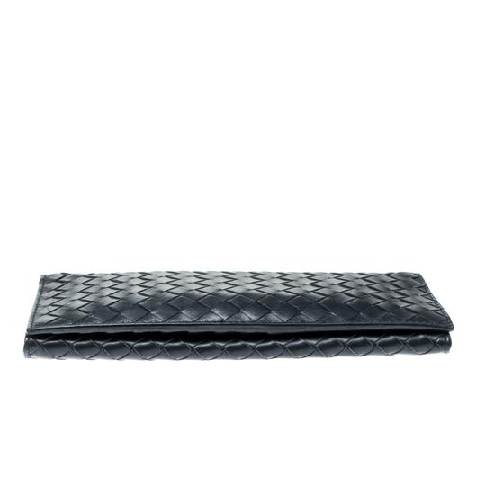 Bottega Veneta Blue Intrecciato Leather Long Wallet Image 4