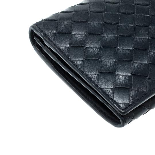 Bottega Veneta Blue Intrecciato Leather Long Wallet Image 8