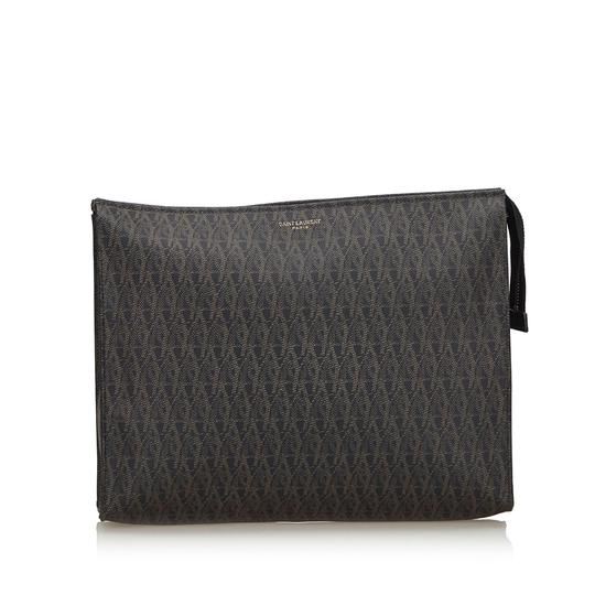 Preload https://img-static.tradesy.com/item/25726413/saint-laurent-with-brown-logo-italy-small-black-coated-canvas-fabric-clutch-0-0-540-540.jpg
