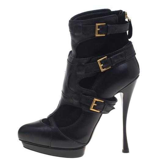Alexander McQueen Leather Suede Detail Ankle Black Boots Image 3