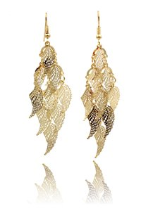 Ocean Fashion Gold long small wing earrings