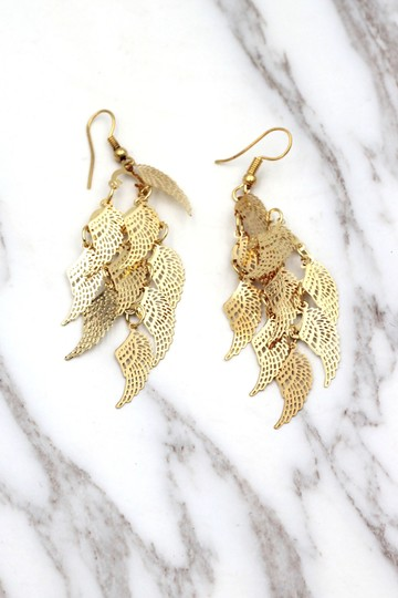 Ocean Fashion Gold long small wing earrings Image 2