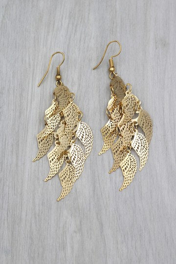 Ocean Fashion Gold long small wing earrings Image 3
