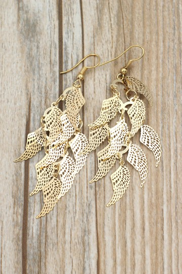 Ocean Fashion Gold long small wing earrings Image 5