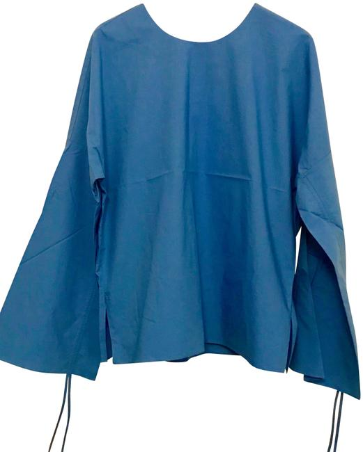 Preload https://img-static.tradesy.com/item/25726450/tibi-blue-sleeve-cotton-poplin-blouse-size-4-s-0-2-650-650.jpg