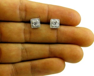 Other Round & Emerald Diamond Square Cluster Stud Earrings 14K WG .60Ct