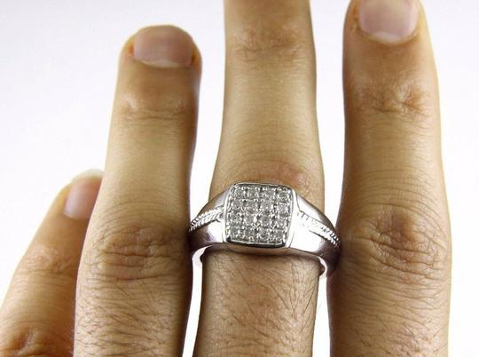Other Round Diamond Square Cluster Men's Ring Band 14k White Gold .50Ct Image 1