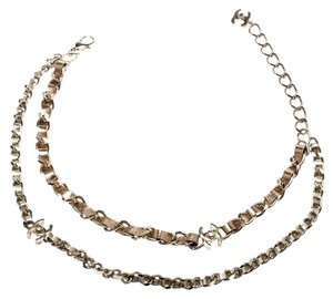 Chanel CC Turnlock Metallic Leather Gold Tone Double Chain Necklace