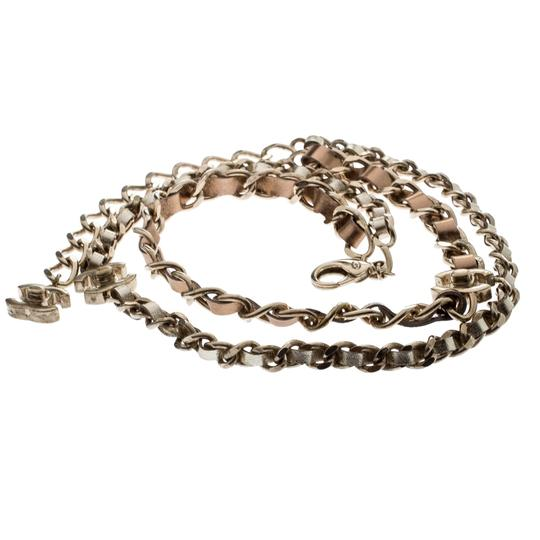 Chanel CC Turnlock Metallic Leather Gold Tone Double Chain Necklace Image 1