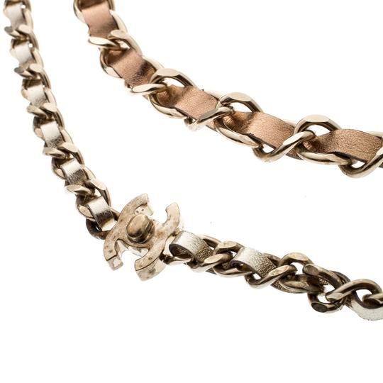 Chanel CC Turnlock Metallic Leather Gold Tone Double Chain Necklace Image 3