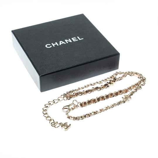 Chanel CC Turnlock Metallic Leather Gold Tone Double Chain Necklace Image 4