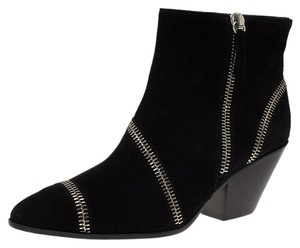 Giuseppe Zanotti Suede Detail Ankle Leather Black Boots