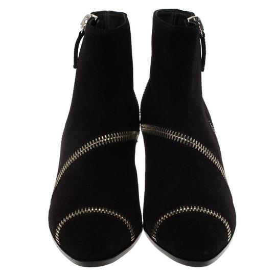 Giuseppe Zanotti Suede Detail Ankle Leather Black Boots Image 1