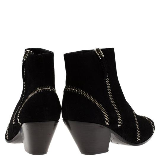 Giuseppe Zanotti Suede Detail Ankle Leather Black Boots Image 2