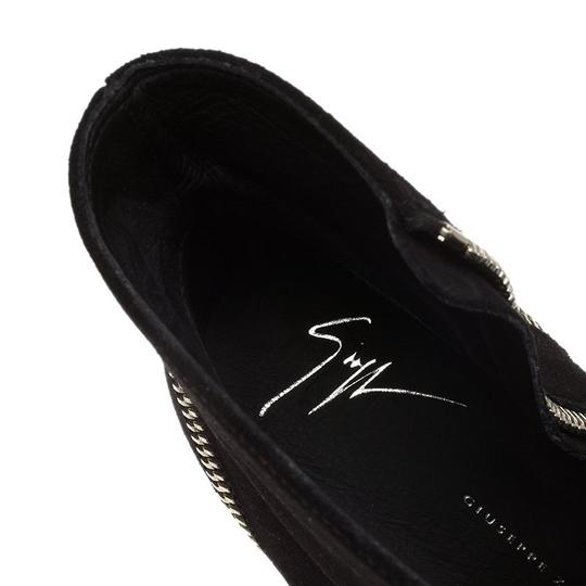 Giuseppe Zanotti Suede Detail Ankle Leather Black Boots Image 3