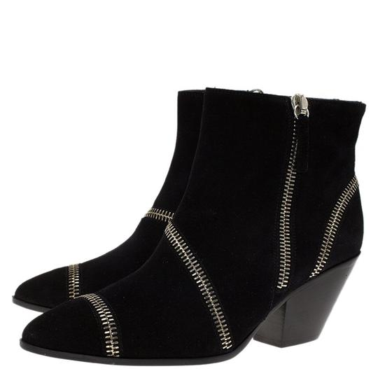 Giuseppe Zanotti Suede Detail Ankle Leather Black Boots Image 4