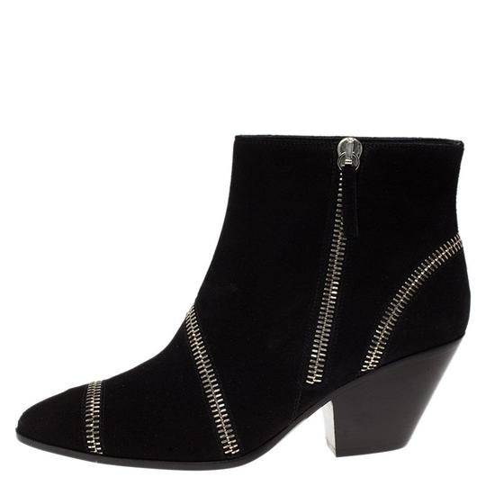 Giuseppe Zanotti Suede Detail Ankle Leather Black Boots Image 5