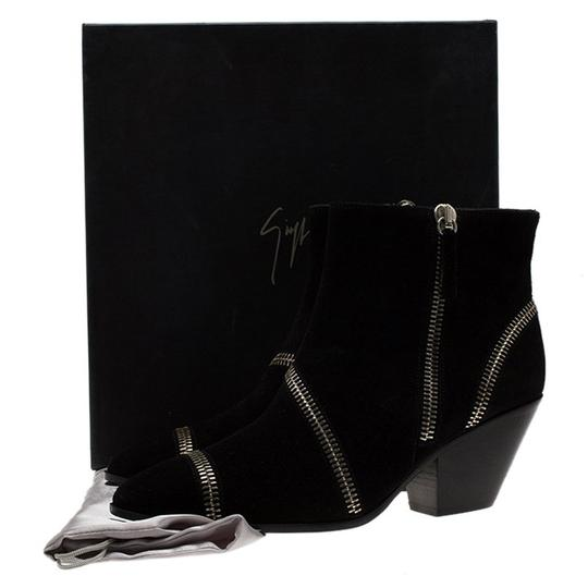 Giuseppe Zanotti Suede Detail Ankle Leather Black Boots Image 7