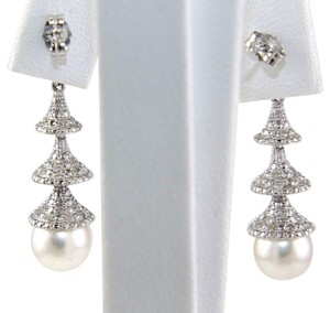 Other South Sea Pearl & Diamond Dangle Earrings 14k White Gold 8.5mm .50Ct