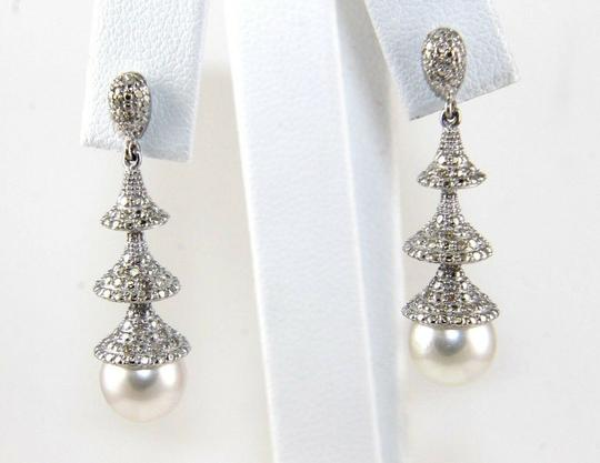 Other South Sea Pearl & Diamond Dangle Earrings 14k White Gold 8.5mm .50Ct Image 1
