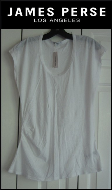 James Perse Scoop Neck Ruched Right Side Semi Sheer Sleeves Cotton T Shirt White Image 1