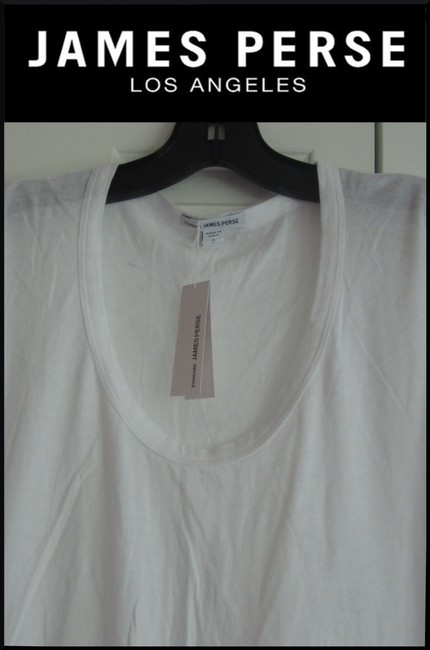 James Perse Scoop Neck Ruched Right Side Semi Sheer Sleeves Cotton T Shirt White Image 4