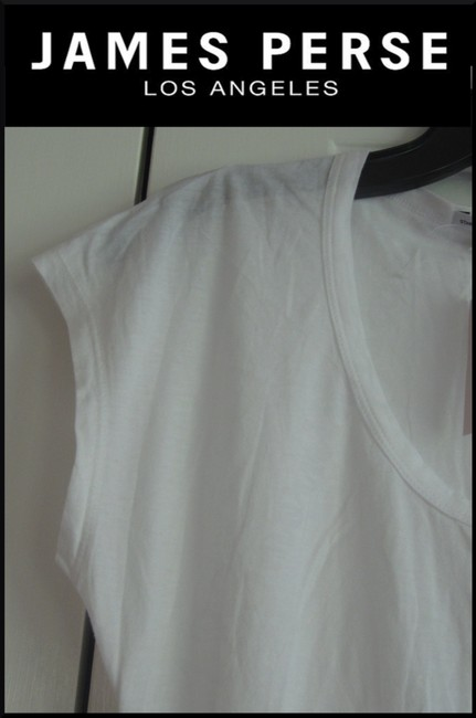 James Perse Scoop Neck Ruched Right Side Semi Sheer Sleeves Cotton T Shirt White Image 6