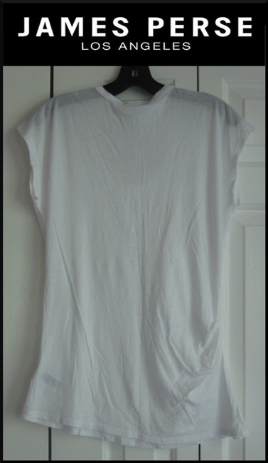 James Perse Scoop Neck Ruched Right Side Semi Sheer Sleeves Cotton T Shirt White Image 9