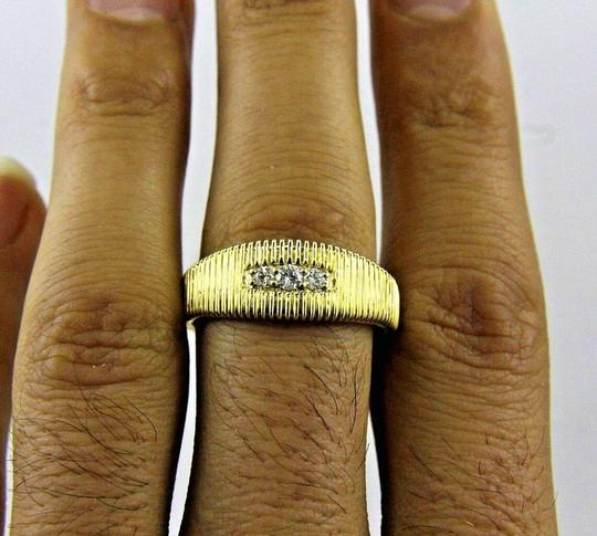 Other Round Cut Diamond 3 Stone Channel Mens Ring Band 14k Yellow Gold .16Ct Image 1