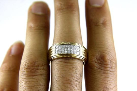 Other Round Diamond Wide Cluster Men's Ring Band 14k Yellow Gold .50Ct Image 2