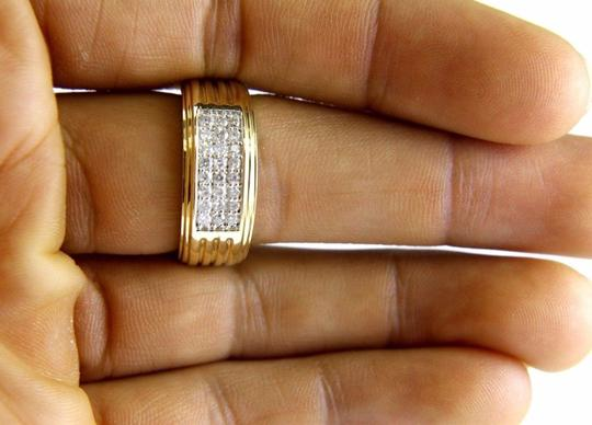 Other Round Diamond Wide Cluster Men's Ring Band 14k Yellow Gold .50Ct Image 3