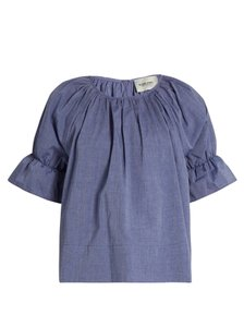 Rachel Comey Boxy Puff Sleeves Ruffle Keyhole Top Blue - item med img