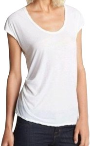 James Perse Scoop Neck Ruched Right Side Semi Sheer Sleeves Cotton T Shirt White