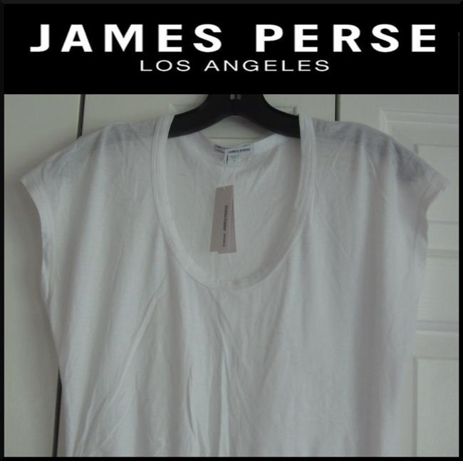 James Perse Scoop Neck Ruched Right Side Semi Sheer Sleeves Cotton T Shirt White Image 2