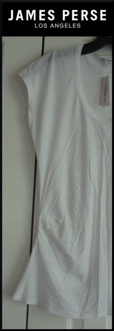 James Perse Scoop Neck Ruched Right Side Semi Sheer Sleeves Cotton T Shirt White Image 3